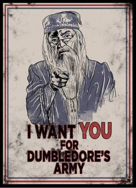 An Uncle Sam-style war poster depicting Albus Dumbledore that says, 'I want YOU for Dumbledore's army!'