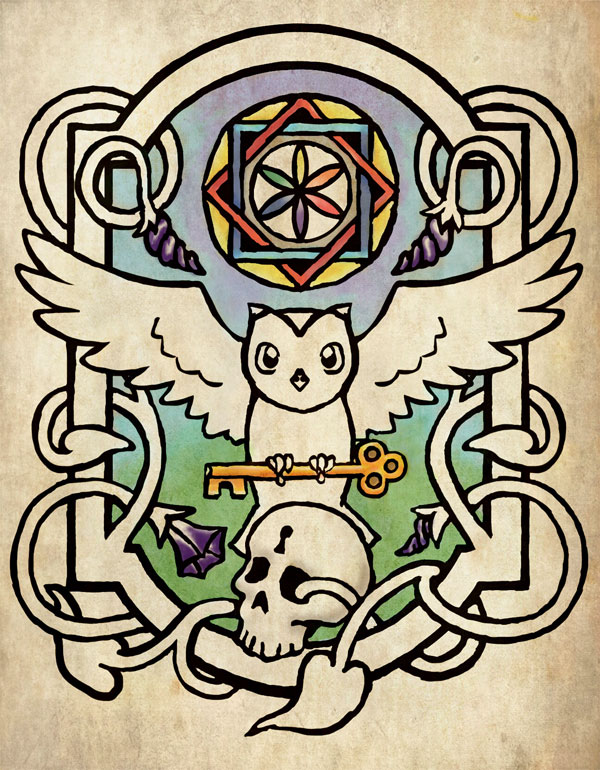 Logo for the Internet School of Magic, an owl holding a key over a skull, with morning glory flowers and a mandala.