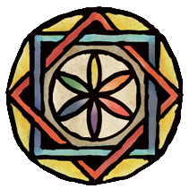 The seal of the Internet School of Magic, a mandala consisting of two interlocking squares surrounding a flower made of vesica pisces petals.